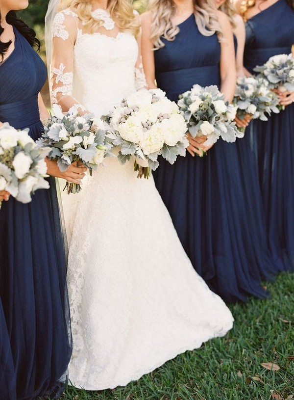 single shoulder navy blue bridesmaid dresses 2