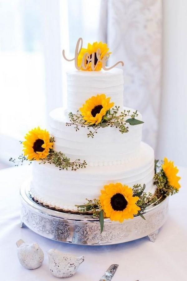 sunflower themed wedding cake ideas