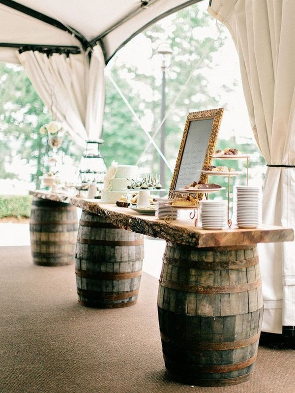 tented country wedding dessert bar ideas with wine barrels