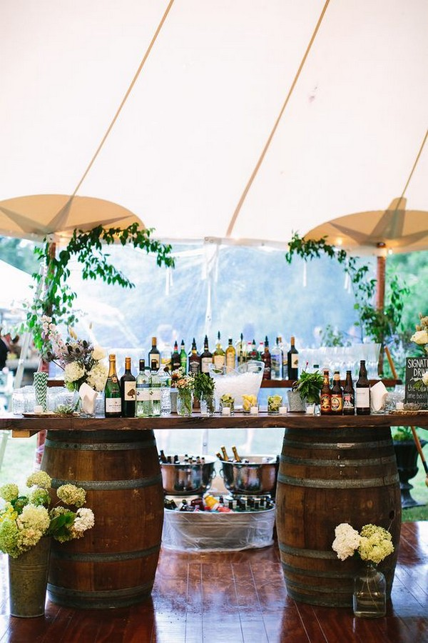tented wedding drink bar ideas with wine barrels
