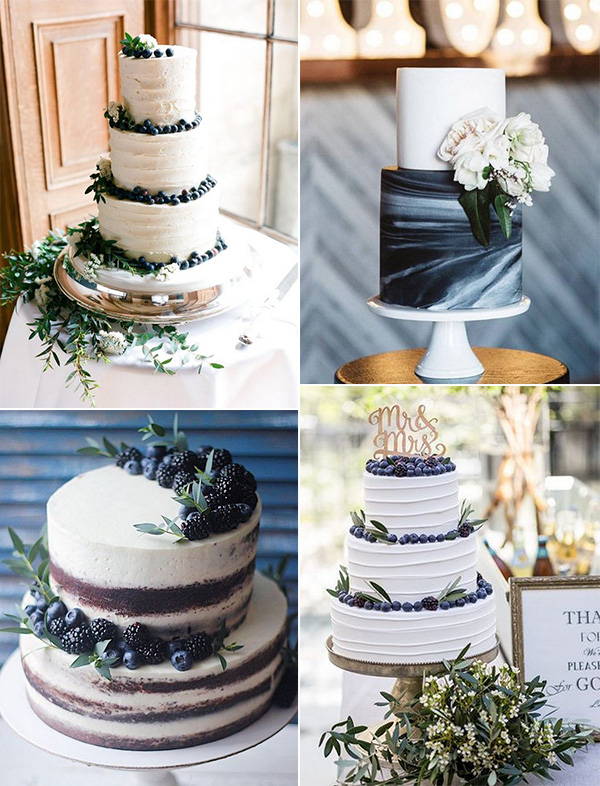 trending navy blue and green wedding cakes