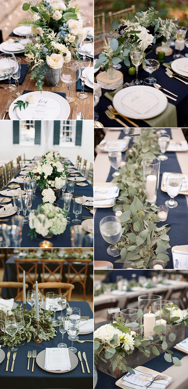 trending navy blue and greenery wedding centerpiece ideas