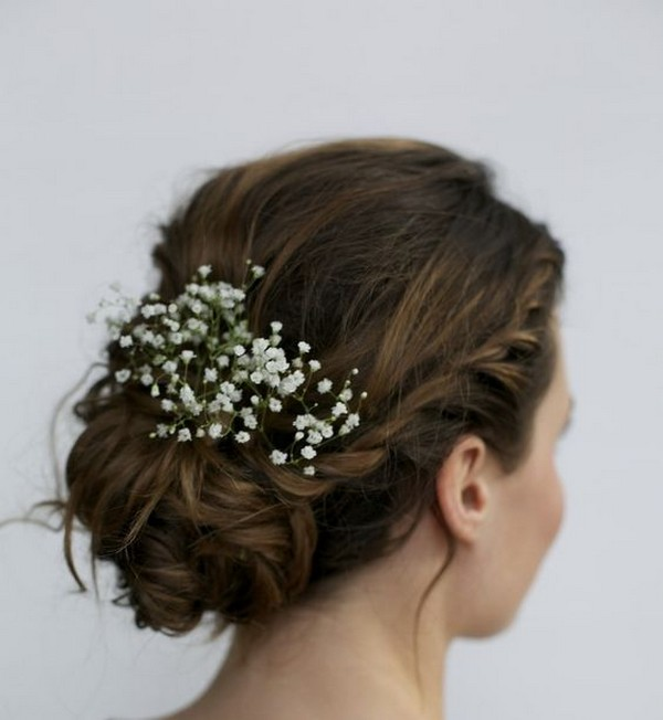 updo wedding hairstyle with baby's breath