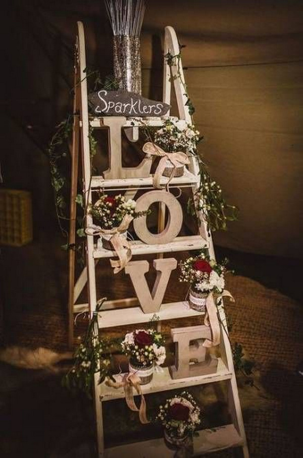 vinage wedding decorations with ladder