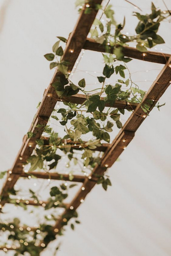 vintage ladder greenery and lights wedding decoration ideas