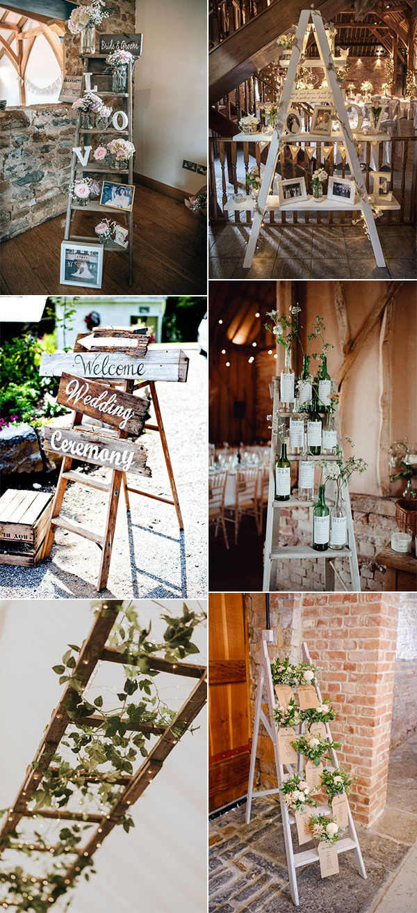 vintage ladders inspired wedding decoration ideas