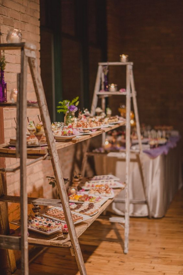 vintage ladders inspired wedding food station ideas