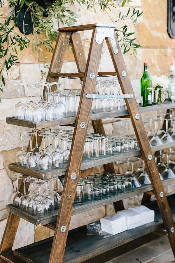 vintage outdoor wedding drink station ideas