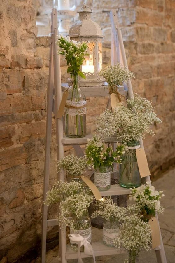 vintage rustic wedding decoration ideas with ladder