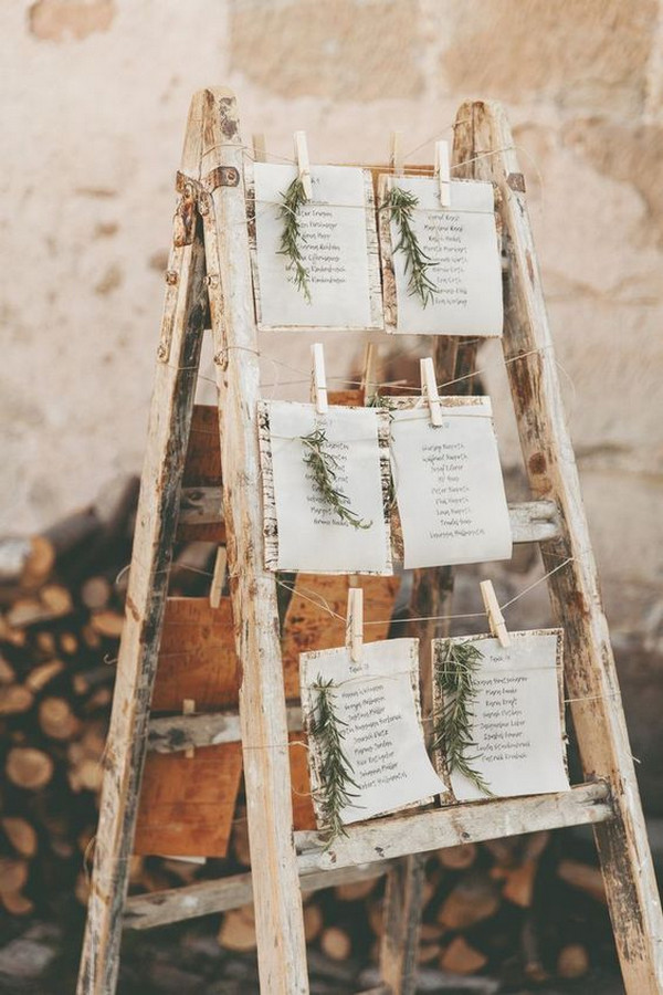vintage rustic wedding seating plan ideas with ladder