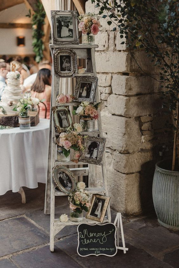 vintage wedding decoration ideas with ladder