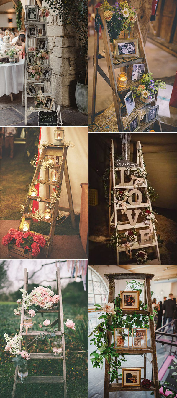 20 Vintage Rustic Wedding Decoration Ideas with Ladders - EmmaLovesWeddings