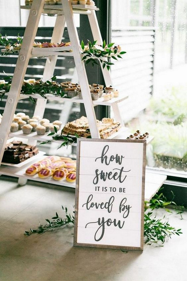 vintage wedding dessert display ideas with ladder