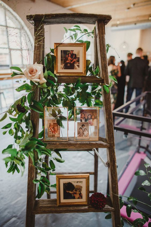 vintage wedding photo display ideas with ladders
