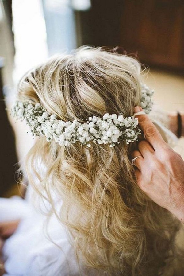 wedding hairstyle with baby's breath crown