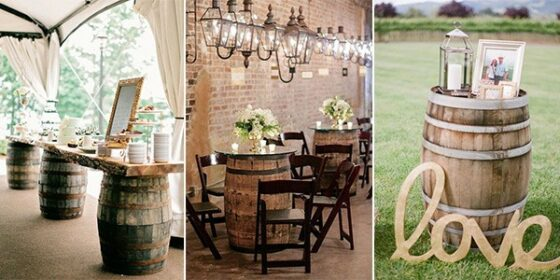 wine barrels country wedding ideas