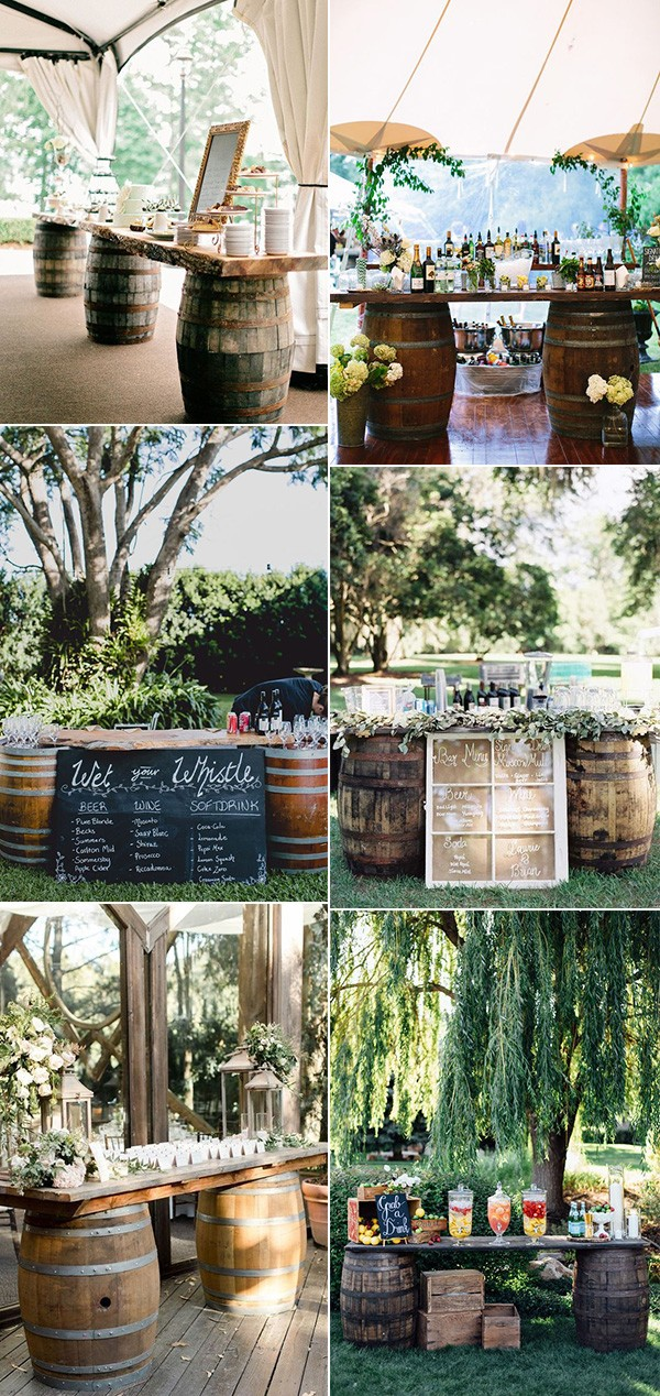 wine barrels food and drink bars for country wedding ideas