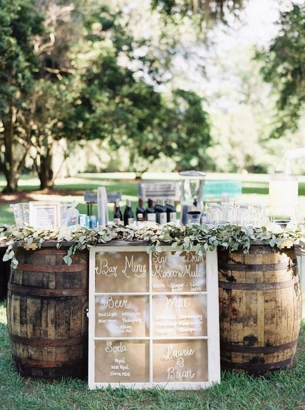 wine barrels outdoor wedding drink station ideas