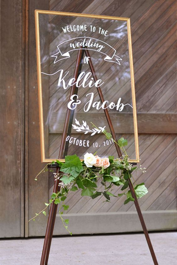 acrylic wedding welcome sign with floral
