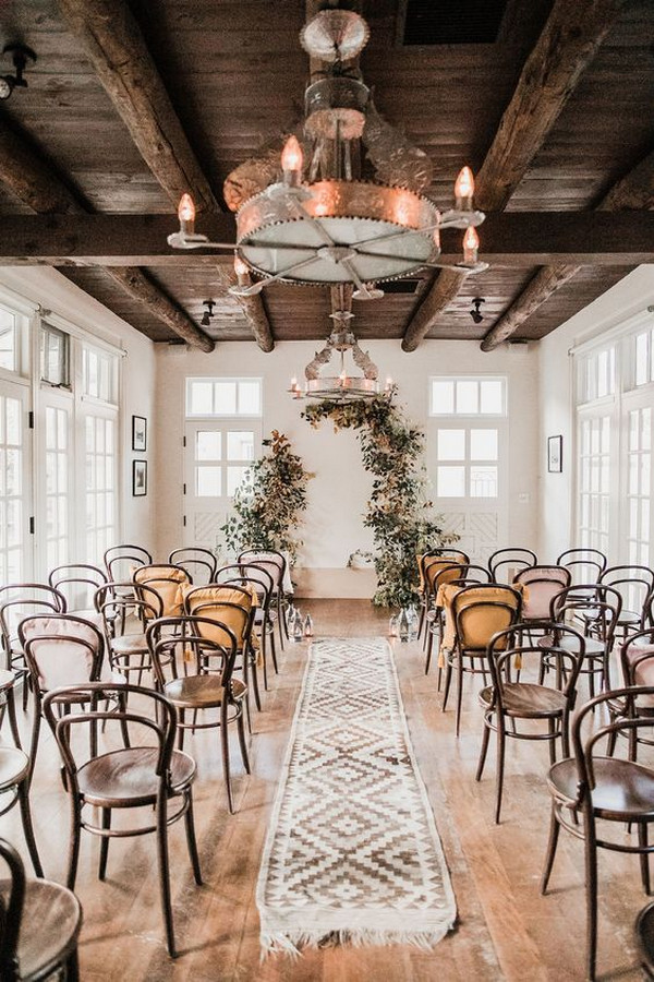 boho chic indoor wedding ceremony ideas