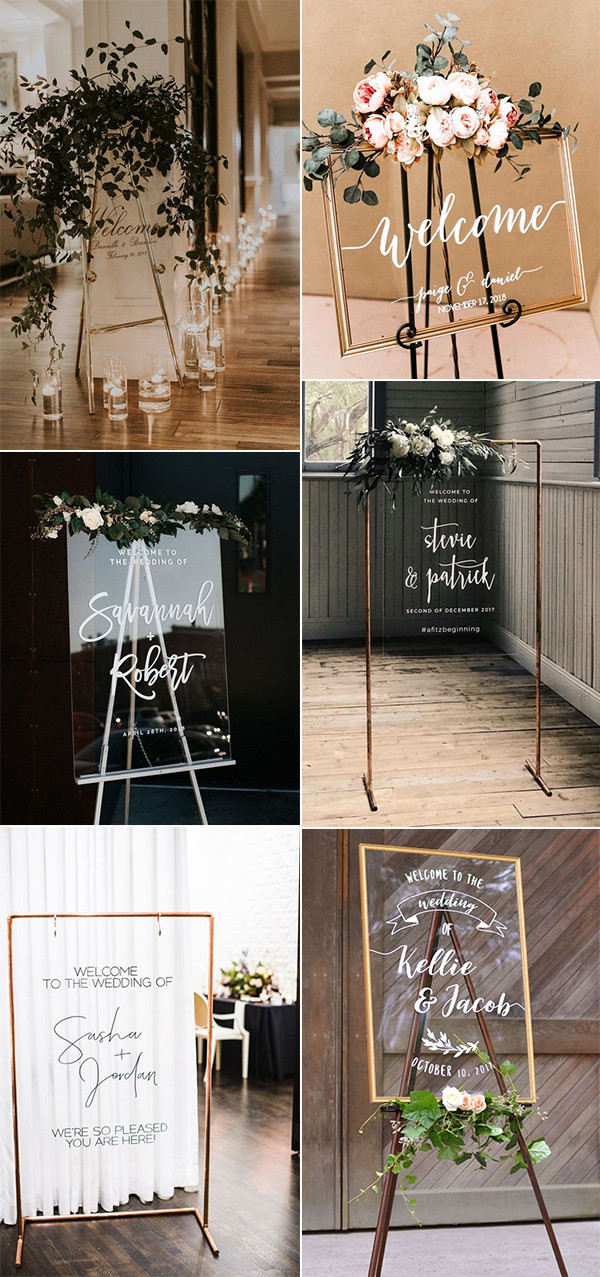 chic acrylic wedding welcome sign decoration ideas