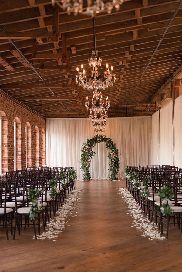 chic indoor wedding ceremony decoration