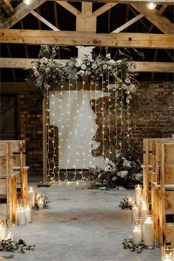 chic rustic indoor wedding ceremony ideas