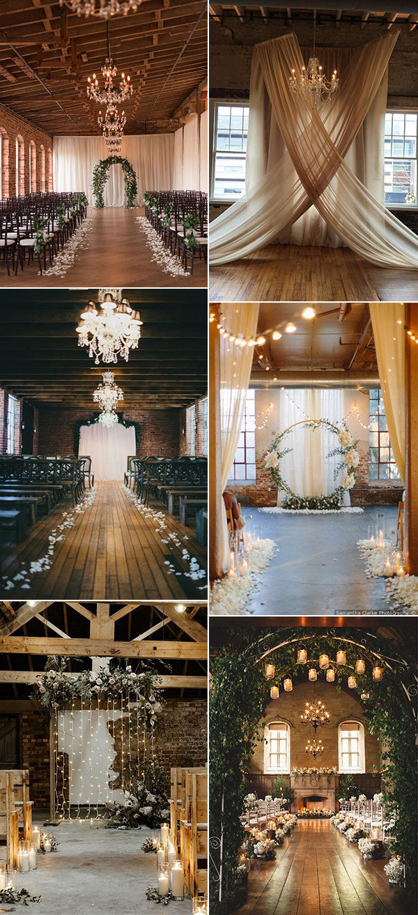 chic vintage indoor wedding ceremony ideas