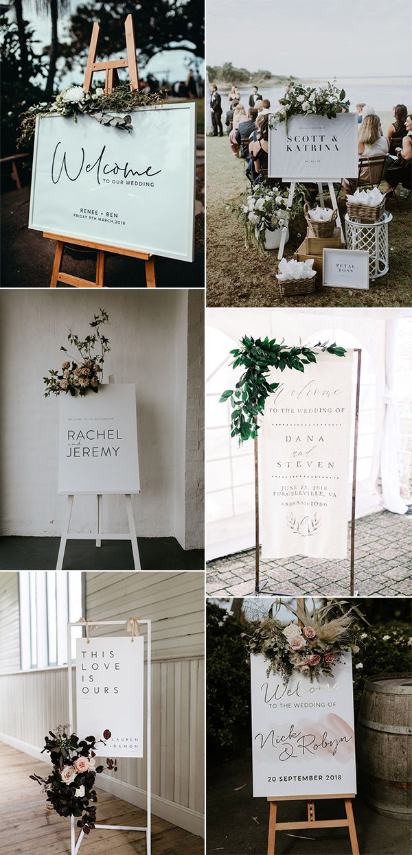 chic white and greenery wedding sign ideas