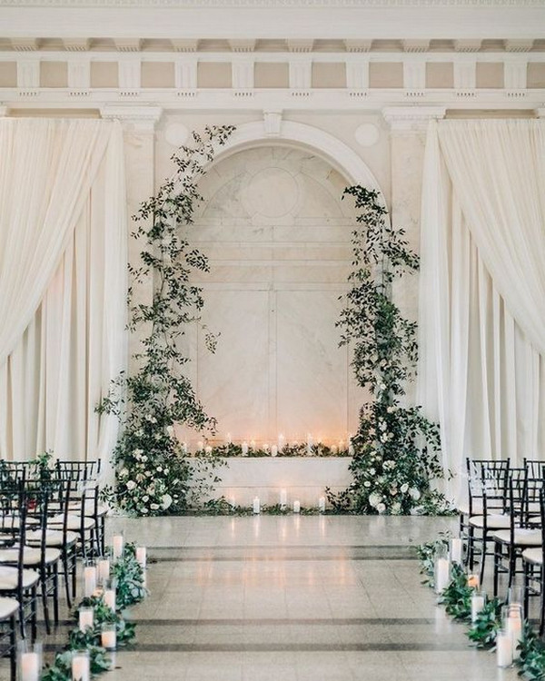 classic greenery indoor wedding ceremony decor