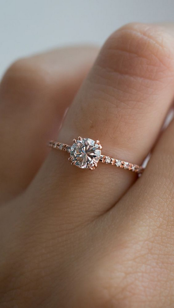 classic rose gold diamond engagement ring