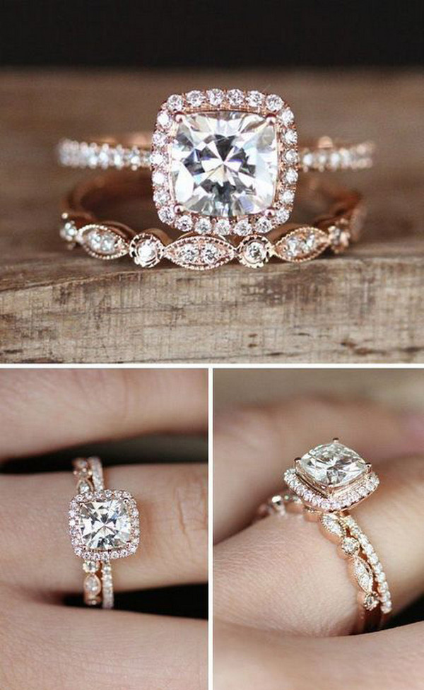cushion cut rose gold diamond engagement ring