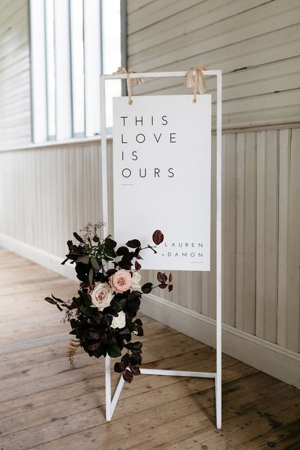 elegant simple wedding sign with floral