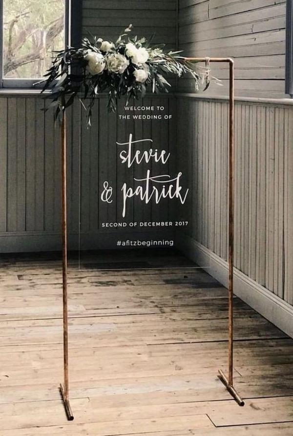 industrial acrylic wedding welcome sign ideas