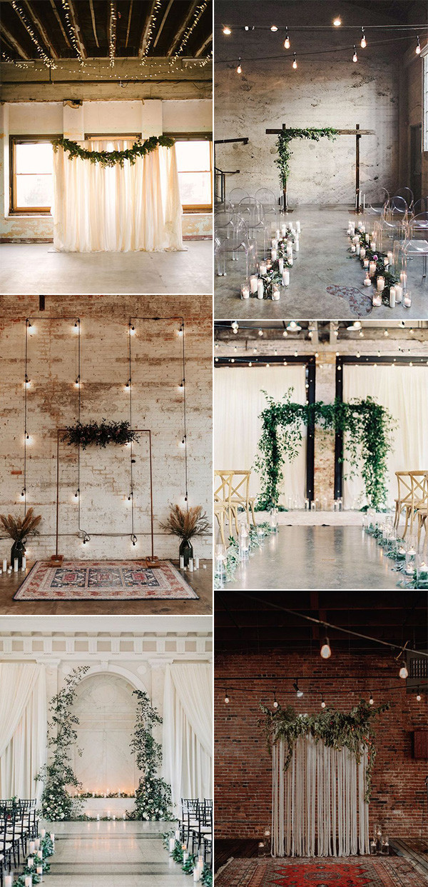 industrial indoor wedding ceremony decoration ideas with lights