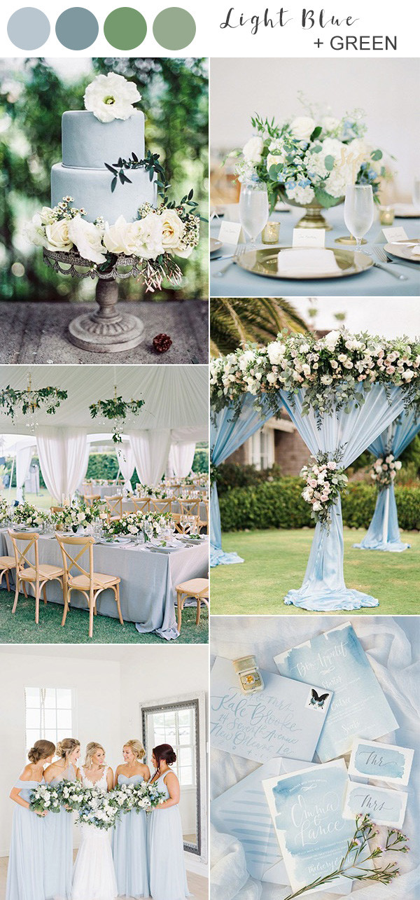 light blue and greenery spring wedding color ideas 2020
