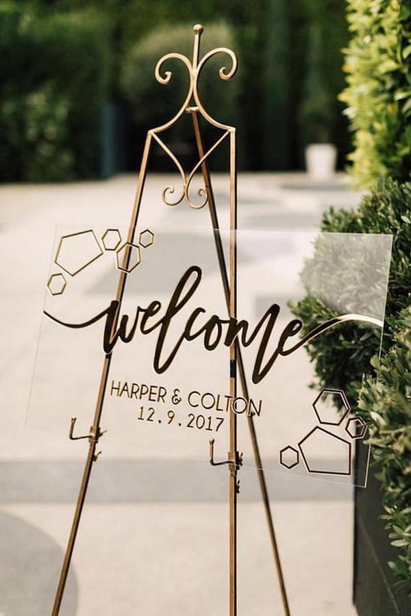 modern simple acrylic wedding welcome sign