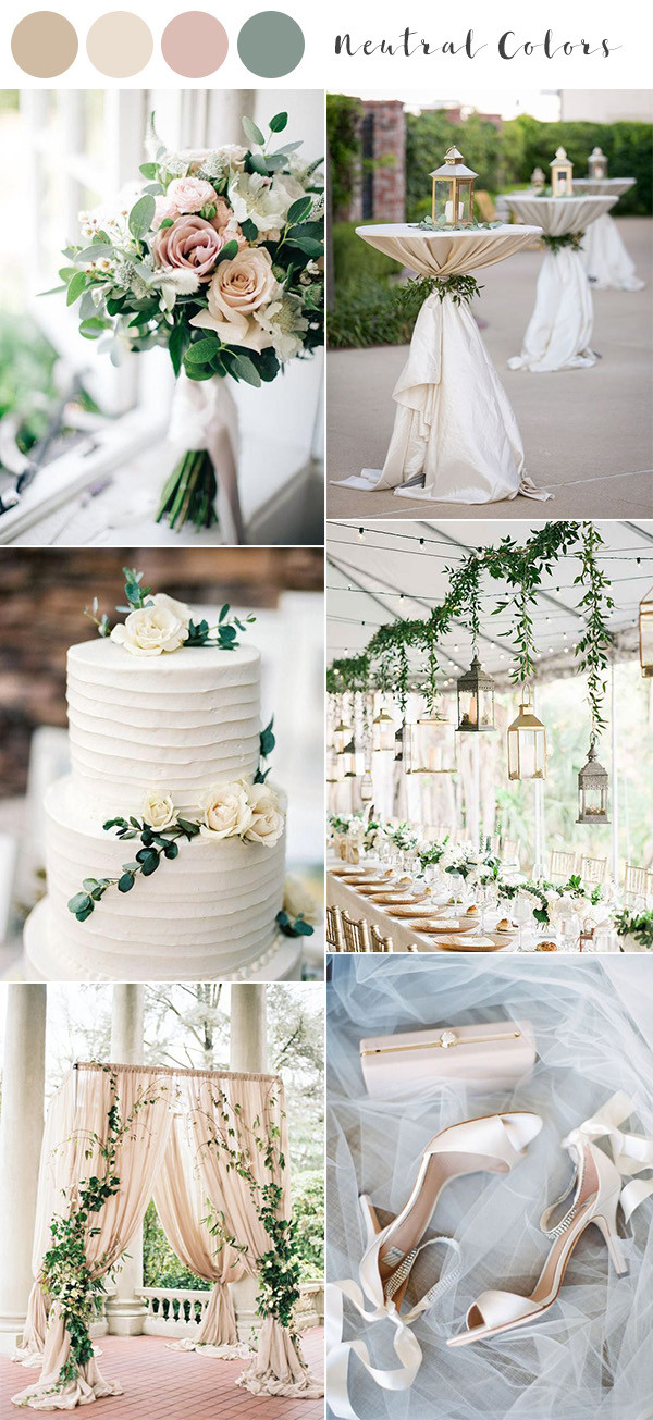 neutral colors spring summer wedding color ideas 2020