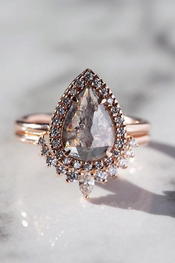 pear shaped diamond rose gold engagement ring