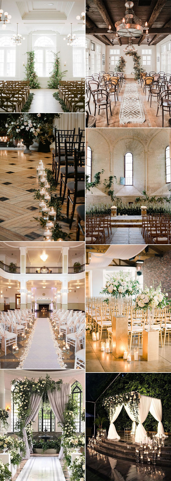 romantic indoor wedding ceremony decoration ideas