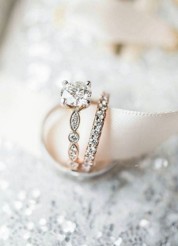 romantic vintage rose gold wedding engagement ring set