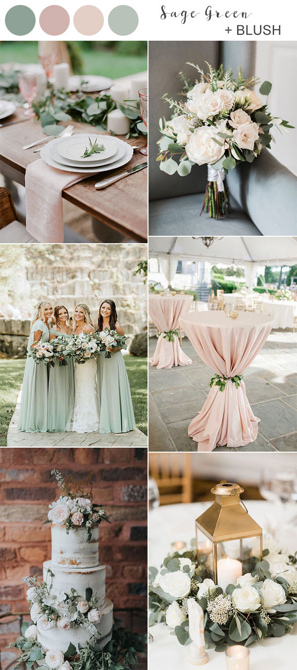 sage and blush pink wedding color ideas for spring summer 2020