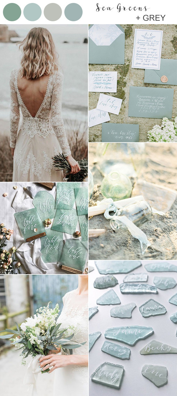 shades of green beach wedding color ideas