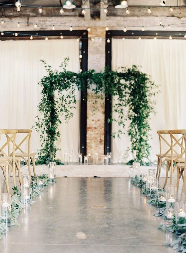 simple chic indoor wedding ceremony ideas with greenery decorations