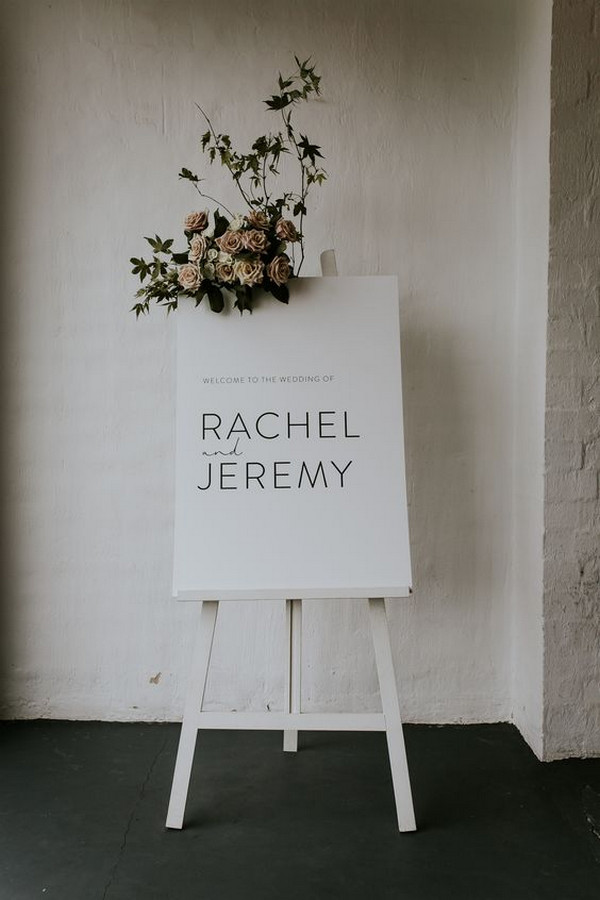 simple elegant wedding welcome sign with floral