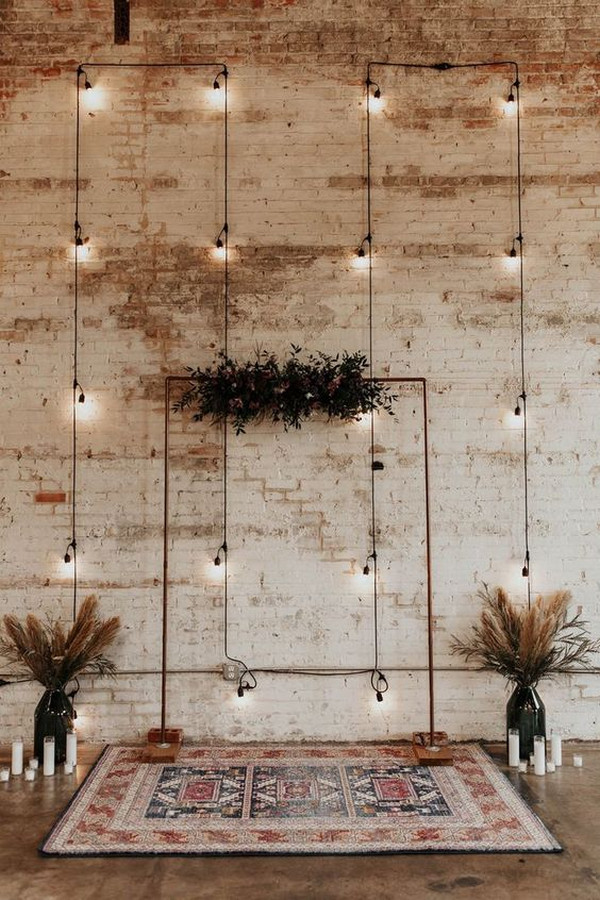 simple industrial wedding backdrop ideas with lights