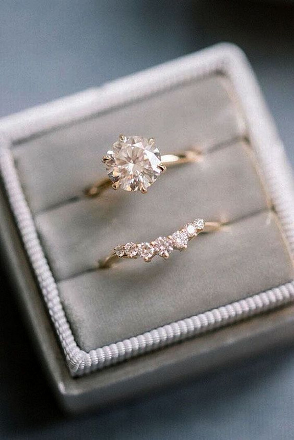 unique rose gold wedding engagement ring set