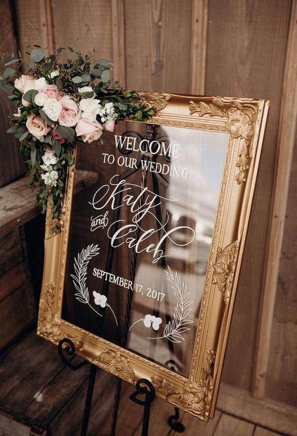 vintage framed wedding welcome sign