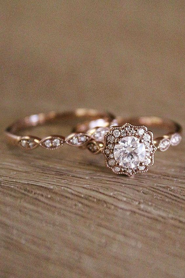 vintage rose gold wedding engagement ring set