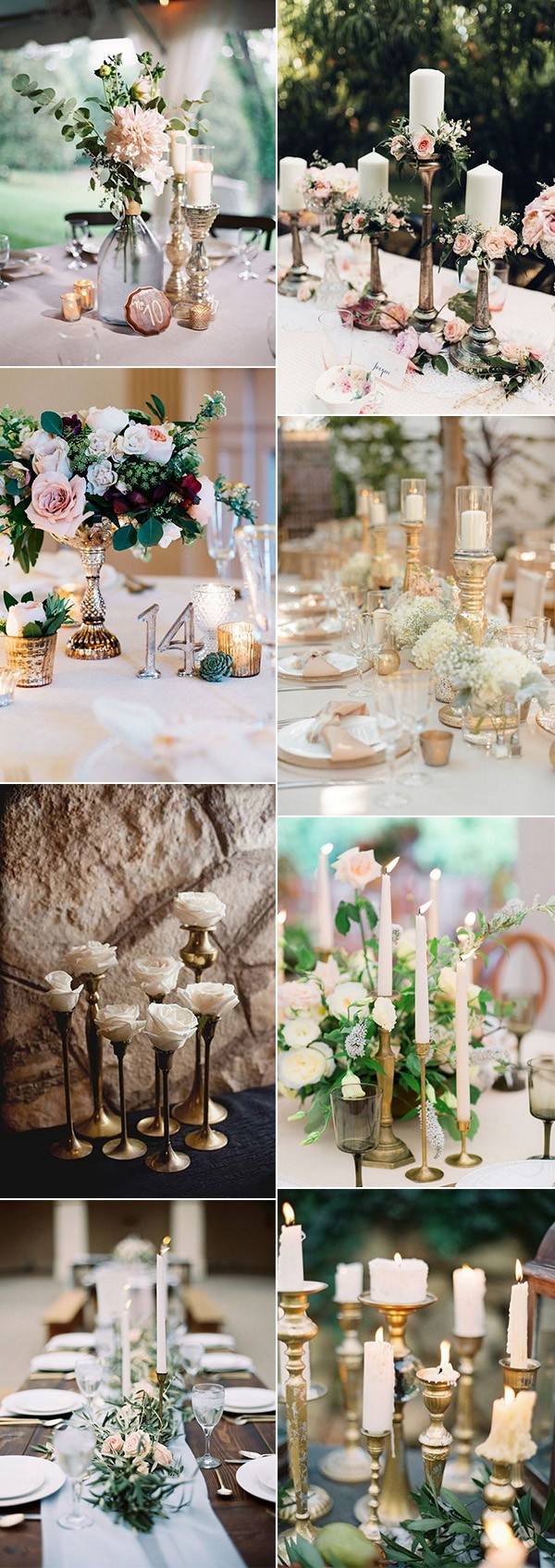 vintage wedding centerpiece ideas with candlesticks